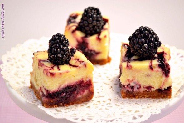 Blackberry Swirl Cheesecake Bars | suzie sweet tooth