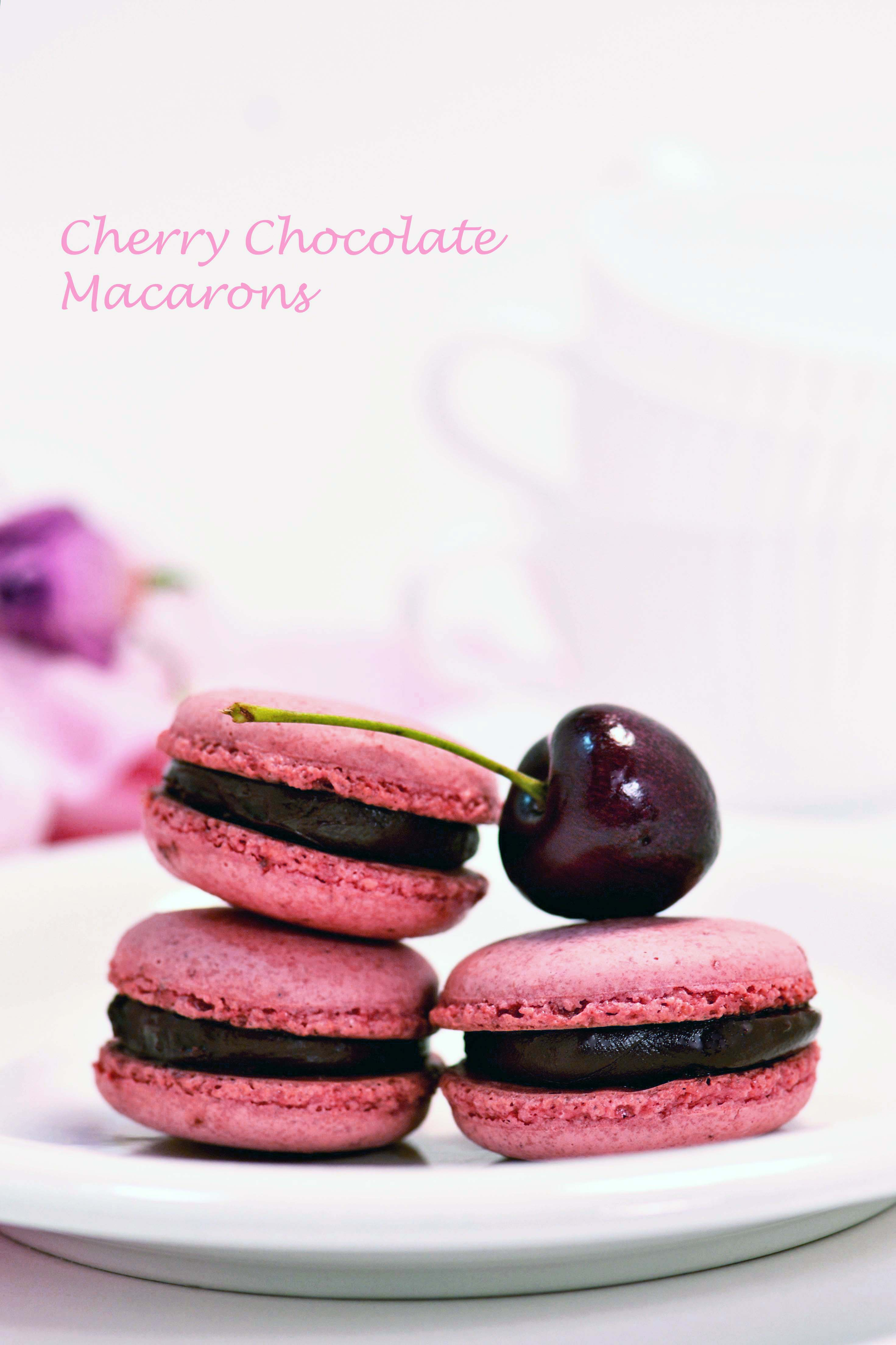 Cherry Chocolate Macarons | suzie sweet tooth