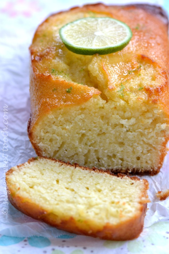Lime Syrup Loaf Cake Cut