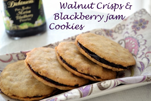 walnut crisps with blackberry jam cookies