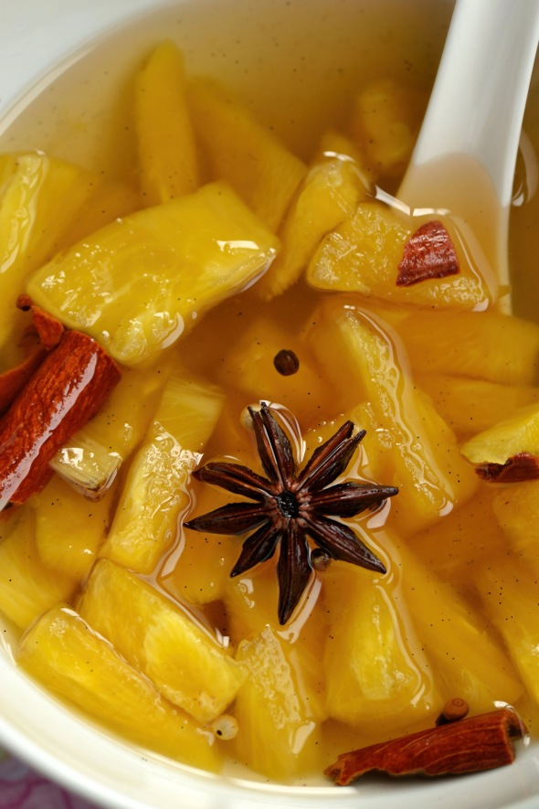 spiced poached pineapple