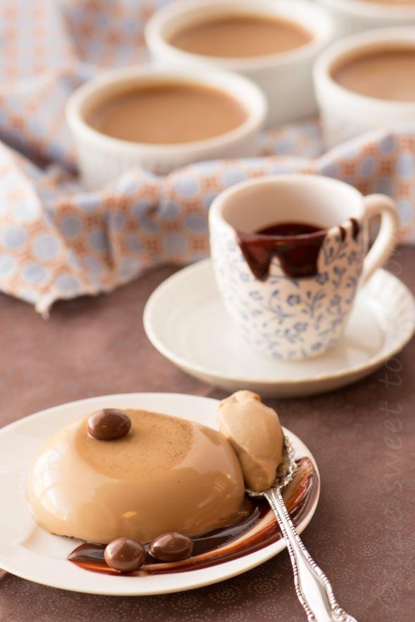 coffee and cream panna cotta with choc sauce
