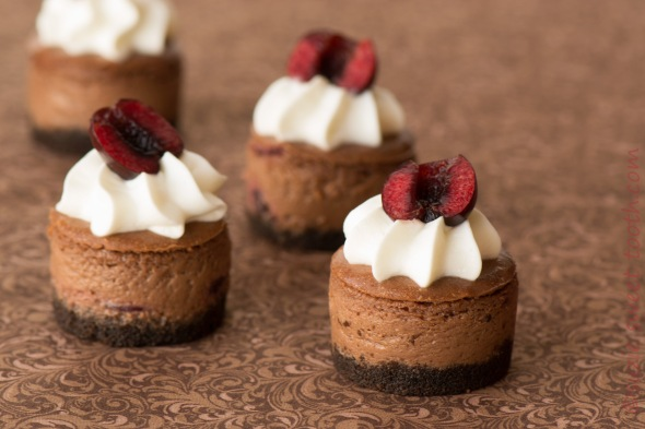Mini Chocolate Bing Cherry Cheesecakes