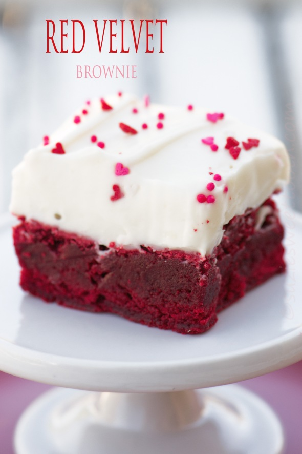 Red Velvet Brownies with White Chocolate Cream Cheese Icing