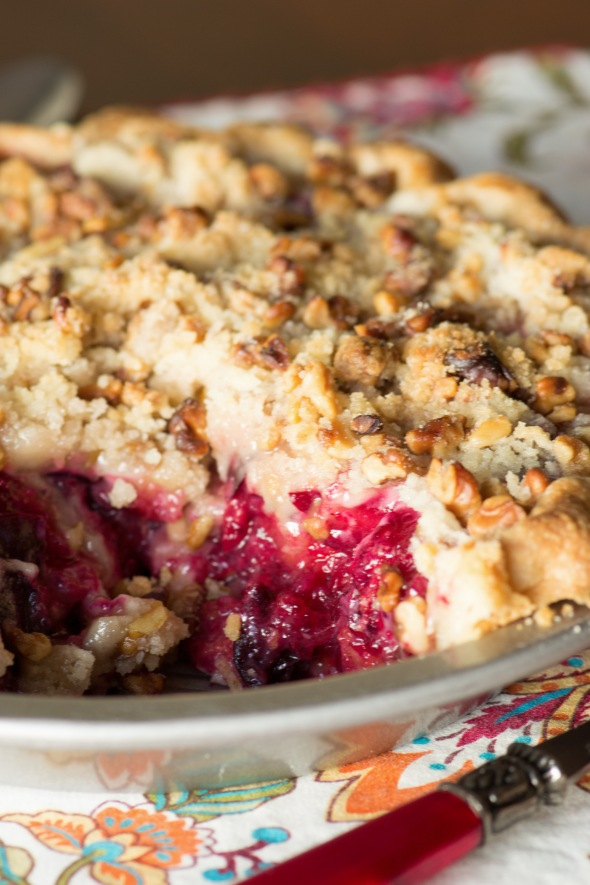 Plum and ginger streusel pie