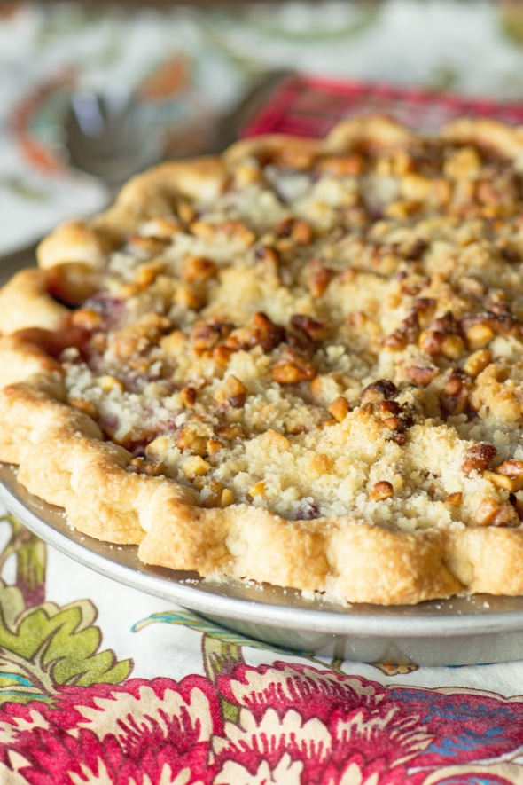 Plum Ginger Streusel Pie